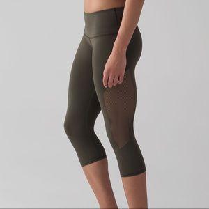LULULEMON | Reveal Crop Legging Pants Dark Olive